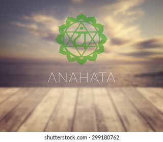 Anahata chakra symbol. Poster for yoga class with a sea view.
