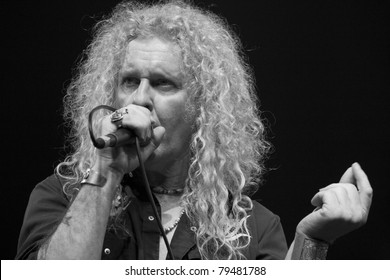 ANAHEIM, CA - JUNE 18: David Montgomery of Led Zeppelin tribute band, Led Zepagain, portrays Robert Plant here, while singing his heart out to fans at The Grove in Anaheim, CA on June 18, 2011.