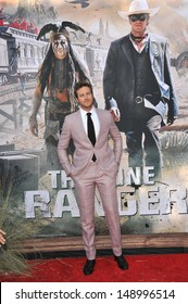 """ANAHEIM, CA - JUNE 22, 2013: Armie Hammer at the world premiere of his new movie """"The Lone Ranger"""" at Disney California Adventure."""