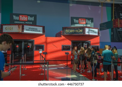 Anaheim, CA - June 23: Fans line up for a sneak peak at the YouTube Red booth at the 7th annual VidCon conference at the Anaheim Convention Center in Anaheim, California on June 23, 2016