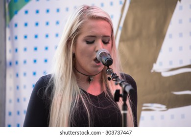 Anaheim, CA - June 23: Singer Macy Kate performs at VidCon 2015 at the Anaheim Convention Center in Anaheim, California on June 23, 2015
