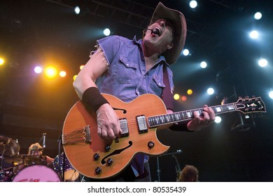 ANAHEIM, CA - JUNE 30: Ted Nugent strikes a chord to a sold out show at the Grove Theatre in Anaheim, CA on June 30, 2011.