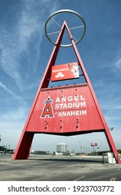 ANAHEIM, CA - MARCH 17, 2017: The Big A in the parking lot of Angel Stadium, Orange County the stadium is the home of MLB's Los Angeles Angels of Anaheim.
