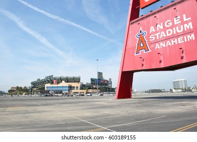 ANAHEIM, CA - MARCH 17, 2017: Angel Stadium and the Big A. Located in Orange County the stadium is the home of MLB's Los Angeles Angels of Anaheim.