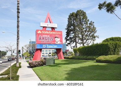 ANAHEIM, CA - MARCH 17, 2017: Angel Stadium State College Entrance. Located in Orange County the stadium is the home of MLB's Los Angeles Angels of Anaheim.