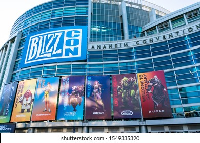 ANAHEIM, CA - November 1, 2019: Blizzcon 2019 banners outside of the Anaheim Convention Center