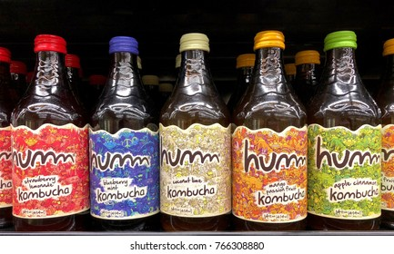Anaheim, CA - November 22, 2017: Grocery store shelf with bottles of hum brand Kombucha teas in various flavors.