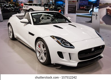 ANAHEIM, CA - OCTOBER 3: A Jaguar F-Type convertible on display at the Orange County International Auto Show in Anaheim, CA on October 3, 2013.