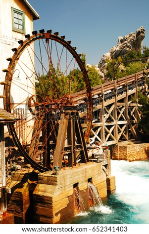 Anaheim, CA, USA March 27, 2008 The Grizzly River Run in Disney's California Adventure in Anaheim, California, is built to resemble a historic timber mill.