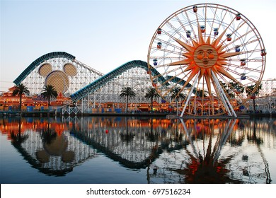Anaheim, CA USA March 28, 2008 The rides or Paradise Pier in Anaheim California are reflected in the man made lake