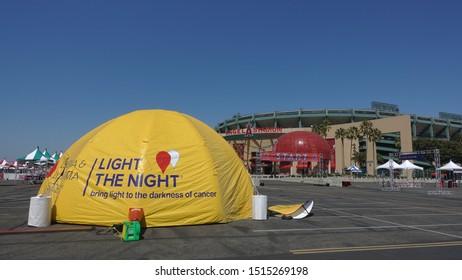 Anaheim, CA / USA - September 21, 2019: Tent set up for Leukemia & Lymphoma Society's Light The Night event at Angels Stadium