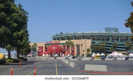 Anaheim, CA / USA - September 22, 2019: Long shot of the Angel Stadium in Anaheim