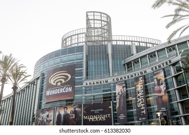 ANAHEIM, CALIFORNIA - MARCH 31 2017: Wonder-Con signage installed at the Anaheim Convention Center.
