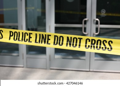 ANAHEIM CALIFORNIA, May 25, 2016: Genuine Crime Scene Tape and Police Do NOT Cross tape block access to entrances during the Republican Nominee Donald J. Trump Rally Anaheim   5.25.2016