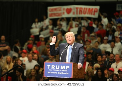 ANAHEIM CALIFORNIA, May 25, 2016: Republican Nominee presidential candidate Donald Trump speaks at campaign event in the Anaheim Stadium in Anaheim California to Thousands of fans and Supporters.