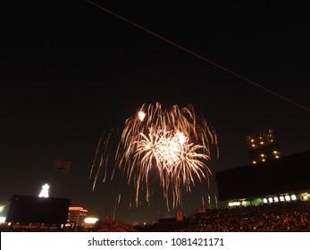Anaheim, California / United States - 4 28 2018: Saturday Night Fireworks At Angel Stadium. Los Angeles Angels vs New York Yankees Game 2. Final Score 11-1 New York Yankees.