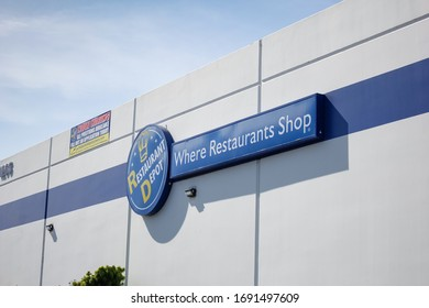 Anaheim, California/United States - 03/09/2020: A building front sign for Restaurant Depot, a restaurant food and equipment supply store.