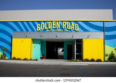 Anaheim, California/United States - 03/12/19: A store front sign for the beer garden known as Golden Road Restaurant and Brewery