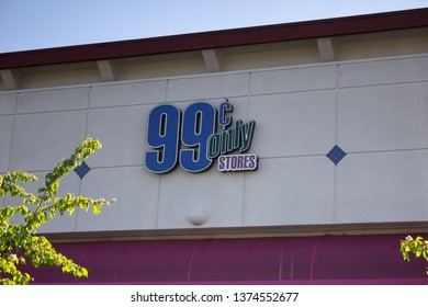 Anaheim, California/United States - 03/12/19: A store front sign for the 99 Cent Only store