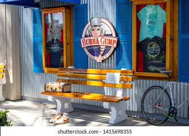 Anaheim, California/United States - 04/24/2019: A bench replica from the Forrest Gump movie at the themed restaurant known as Bubba Gump Shrimp Co.