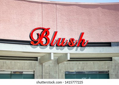 Anaheim, California/United States - 04/24/2019: A store front sign for the club known as Blush at Anaheim Gardenwalk