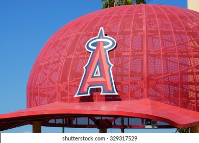 ANAHEIM, CA/USA - OCTOBER 10, 2015: Iconic oversized Angels baseball cap at the entrance to Angel Stadium, home of  Major League Baseball's Los Angeles Angels.