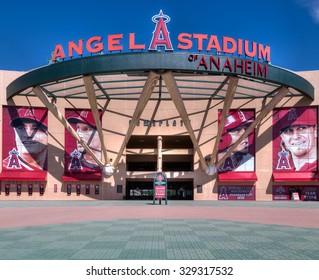 ANAHEIM, CA/USA - OCTOBER 10, 2015: Angel Stadium of Anaheim entrance. Angel Stadium is the home ballpark to Major League Baseball's Los Angeles Angels.
