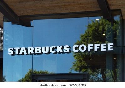 ANAHEIM, CA/USA - OCTOBER 10, 2015:Starbucks Coffee shop exterior. Starbucks is an American global coffee company and coffeehouse chain based in Seattle, Washington.