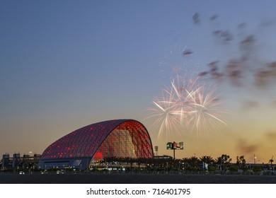 Anaheim, JUN 17: Firworks over the beautiful Anaheim Regional Intermodal Transit Center on JUN 17, 2017 at Anaheim, California