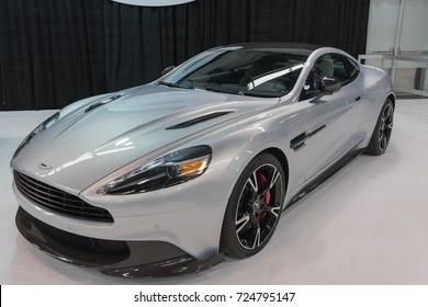Anaheim - USA - September 28, 2017: Aston Martin Vanquish on display at the Orange County International Auto Show.
