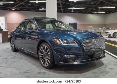 Anaheim - USA - September 28, 2017: Lincoln Continental on display at the Orange County International Auto Show.