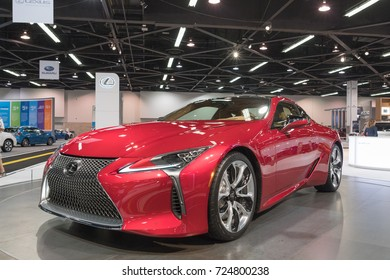 Anaheim - USA - September 28, 2017: Lexus LC 500h on display at the Orange County International Auto Show.