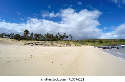 Anakena Beach in Easter island, Chile, 2016