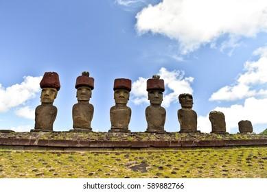Anakena beach with Moai statues, Easter island, Chile