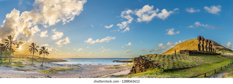 Anakena Beach the most famous beach at Easter Island and maybe the best one in Chile. With it palm trees coming from Polynesia islands and the Ahu Nau Nau Moais is an awe beach full of history