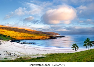 Anakena, a white coral sand beach situated on the northern tip of Rapa Nui (Easter Island), is one of the only two small sandy beaches on the island.