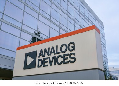 Analog Devices logo and sign at Silicon Valley campus. Analog Devices, Inc. is an American multinational semiconductor company - Santa Clara, California, USA - March 31, 2019