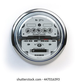 Analog electric meter isolated on white.  Electricity consumption concept. 3d illustration