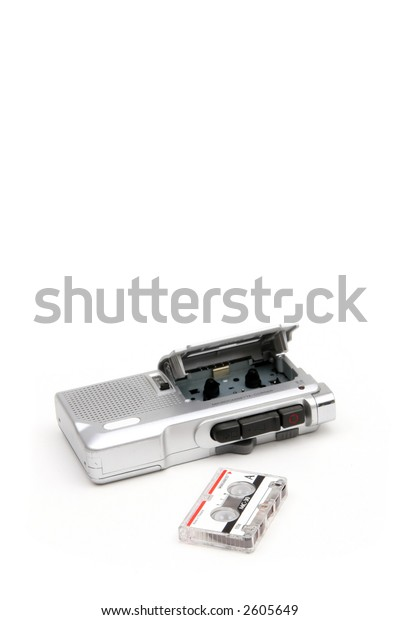 An analog micro-cassette voice recorder.