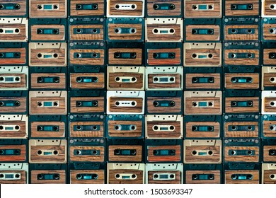 analog music cassette tape collection viewed from above