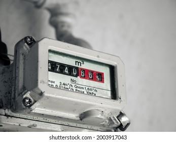 Analog screen of household natural gas meter.