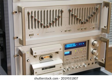 An analog stereo equalizer and a cassette stereo analog deck in a low-current rack.