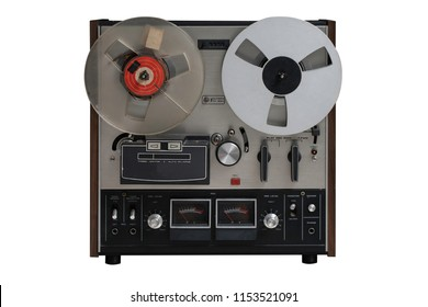 Analog Stereo Open Reel Tape Deck Recorder Player with Metal Reels.This nas clipping path.