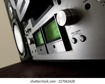Analog Stereo Open Reel Tape Deck Recorder VU Meter Device Closeup