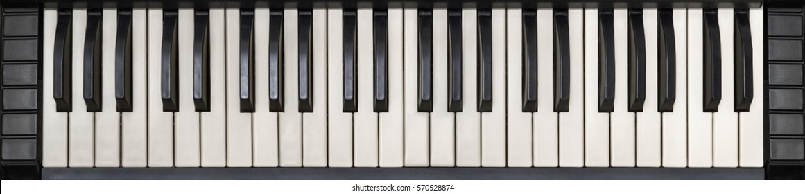 Analog synthesizer keyboard, top view