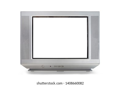 Analog television receiver isolated with white screen clipping path on white background. Flat screen TV