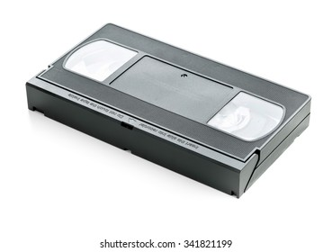 Analog video home system (VHS) tape over white background