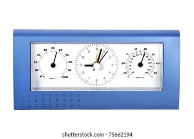 Analog weather station, isolated on white