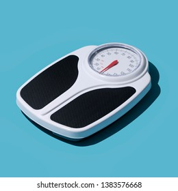 Analog weight scale: fitness, dieting and weight loss concept