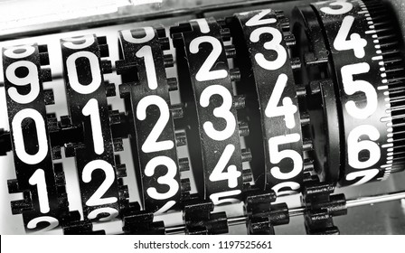 analogic meter counter with many numbers and black and white effect